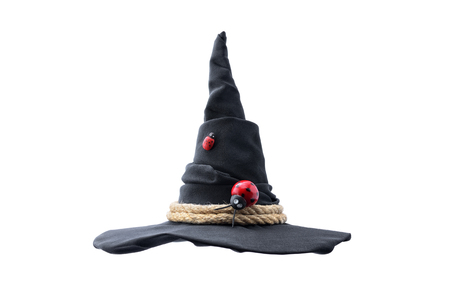 Black witch hat isolated on white background