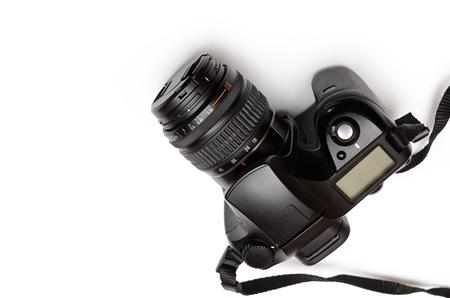 Digital single-lens reflex camera, isolated on white background