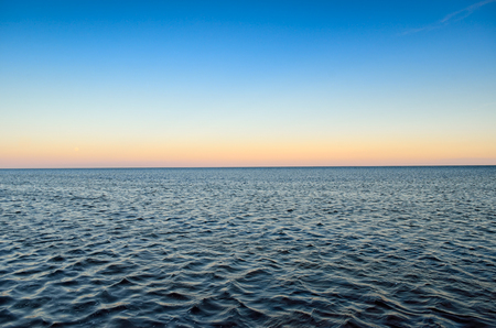 Panorama of sea waves on the background of dawn