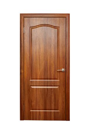 Houten deur, deuropening, ingang en uitgang van de kamer.