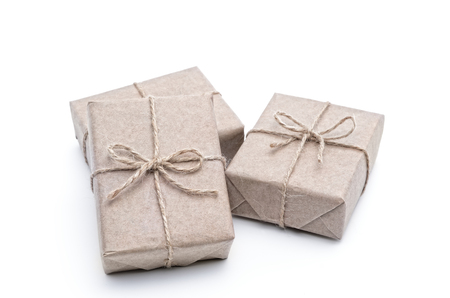 Boxes wrapped in wrapping paper on a white background