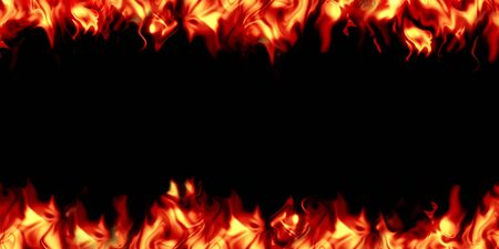 Bright, burning flame on a black background. Fire and center of ignition. Stock Photo - 131561131