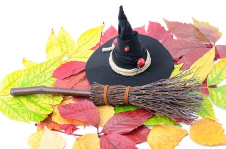 A witch hat and a broom on the autumn leaves. Stock Photo