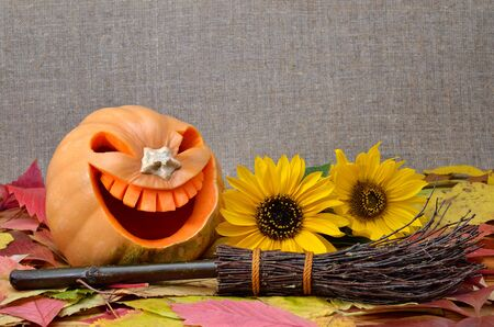 Pumpkin for Halloween carved in the shape of a smile. Jack Lantern Head carved from pumpkin for Halloween. Stock Photo