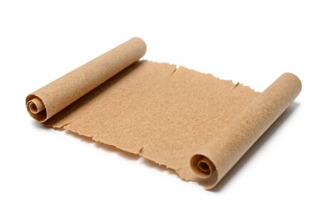 Ancient scroll of paper on a white background. Standard-Bild