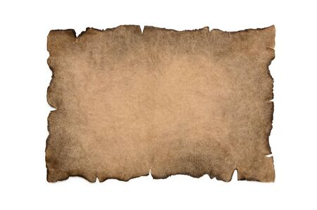 Sheet of burnt, vintage paper isolated on a white background.