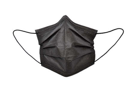 Protective, medical mask in black on a white background