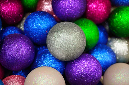 Texture from colorful, shiny Christmas balls