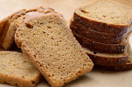 Sliced bread, fresh bakery products close up 免版税图像