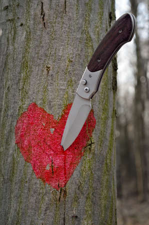 A sharp knife pierced a red heart painted on a tree