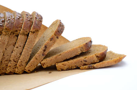 Bread, fresh bakery products isolated on white background.