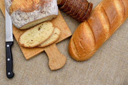 Bakery products, fresh sliced bread close up