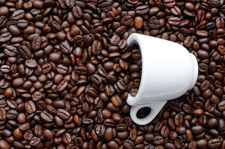 White cup among roasted, brown coffee beans
