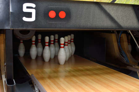Bowling pins on the alley ready for sport play