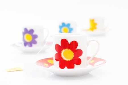 Cups of tea concept for herbal house-ware. Stock Photo
