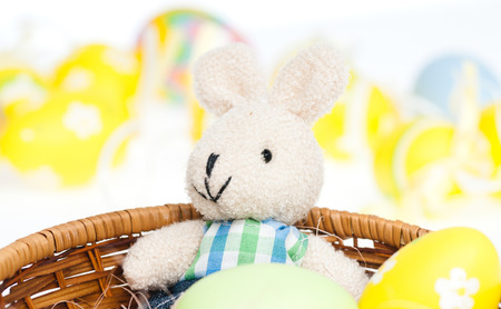 Celebrating easter, colored egs in the background and happy bunny in a basket.