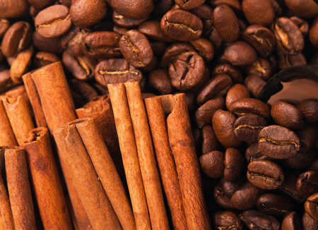 Coffee beans and cinnamon stick