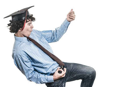 Happy student, dancing and playing imaginary guitar, on white background. Stock Photo