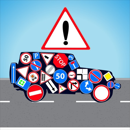 Vector illustration car with road signs