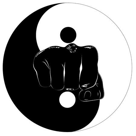 Faust in der Mitte der östlichen Symbol von Yin und Yang Standard-Bild - 26078543