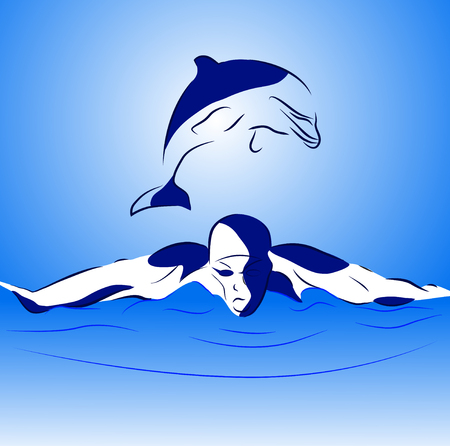 swimmer and dolphin in the open sea Vector