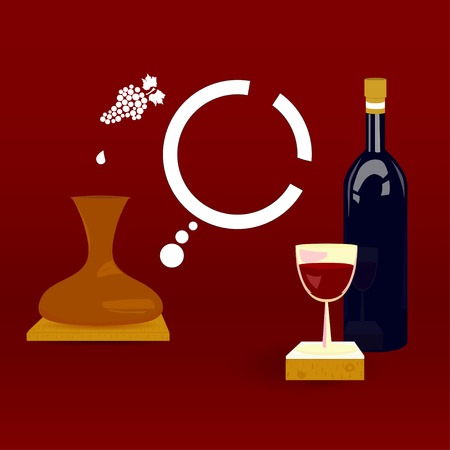 wine register: Wine bottle with a glass of wine on a red background