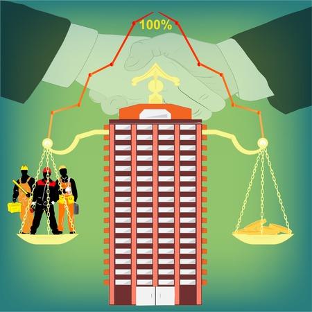 poign�es de main: Vector illustration avec l'image d'une nouvelle maison, les poids et les poign�es de main.