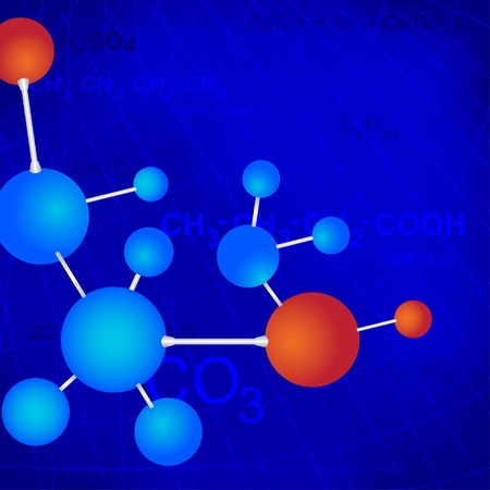 Vector image texture with chemical formulas and molecules Ilustracja