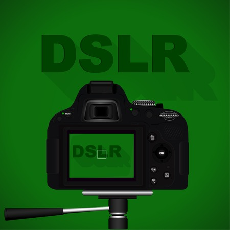 photojournalist: Vector image of the camera on a green background and lettering DSLR