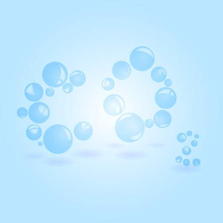 compressed air: Illustration transparent balls of carbon dioxide in the form of text