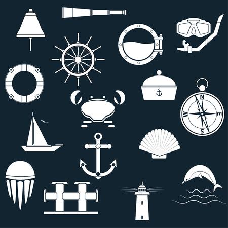 Marine icons Vector