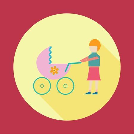 baby moeder: Moeder met baby in de wandelwagen Stock Illustratie