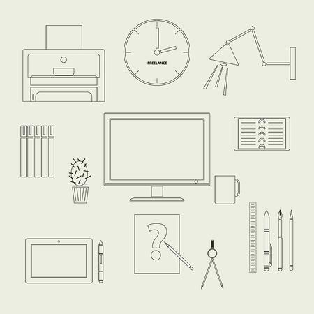 freelancer: A set of contour icons for freelancer