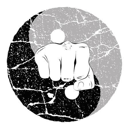 Fist Yin Yang  イラスト・ベクター素材