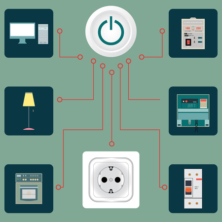 electrical equipment: Electrical circuit with an image of electric devices in flat-style