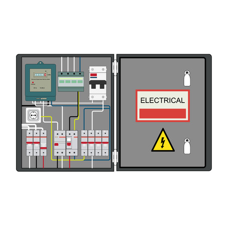 Picture of the electrical panel, electric meter and circuit breakers Stock Illustratie