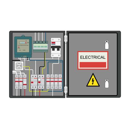 Obraz płyty elektrycznej, licznik elektryczny i wyłączniki