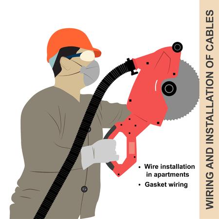schnitzer: Legen Verdrahtung im apartment.Stowage Kabel, ein Mann arbeitet Elektroschnitzer. Illustration