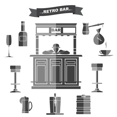 bartender: Interior and subjects of bar in a retro style. A bar counter with the bartender. Icons with a banner in gray color.