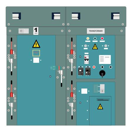 Imagen del panel eléctrico, interruptores metros y circuito eléctrico, transformador de alta tensión