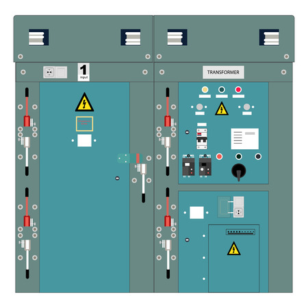 Photo du panneau électrique, compteurs et disjoncteurs électriques, transformateur haute tension