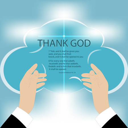 kingdom of god: Vector drawing of hands rising to God, on a blue background mesh, text - Thank God