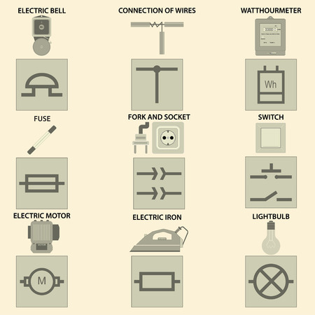 vectorial: Icons with the vectorial image of elements of electric chain, symbols of electric chain, the devices of electric chain are used in the way of life. Illustration