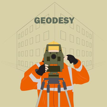 ropa trabajo: Ocupaci�n ilustraci�n top�grafo representa a un hombre en ropa de trabajo con un instrumento teodolito en el contexto del proyecto en el pa�s Vectores