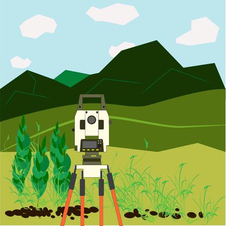 teodolito: Topógrafo dispositivo - un teodolito, se encuentra en una zona abierta en la montaña, hermosos paisajes naturales