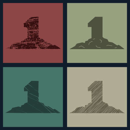 interpretations: Number one in the different interpretations,signs vector images Illustration