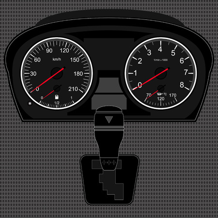 instrument panel: Car instrument panel,vector image of a speedometer, tachometer,gear shifter,texture of a metal