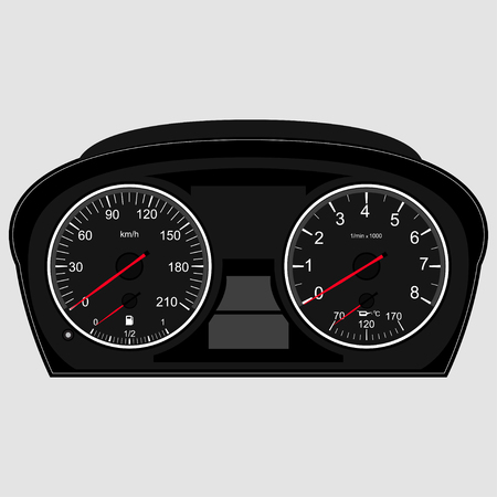 instrument panel: Car Instrument Panel,vector image of a speedometer, tachometer Illustration
