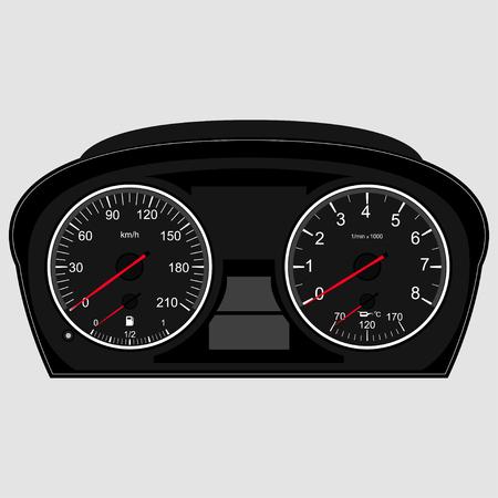 tacometro: Panel de instrumentos del coche, imagen del vector de un veloc�metro, tac�metro Vectores