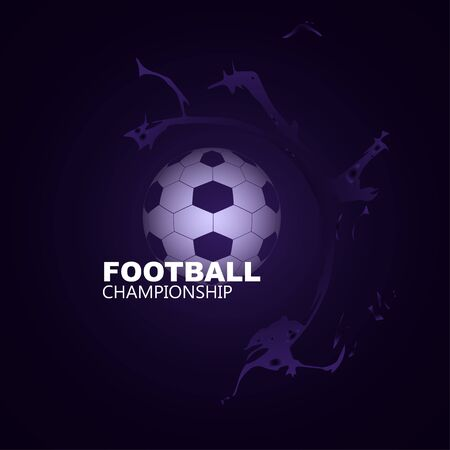 informing: Bright background soccer ball in the center with abstract elements, the text informing about the championship Illustration